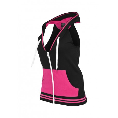 LADIES HOODED FRENCH TERRY VEST - Felpa zip smanicata con cappuccio