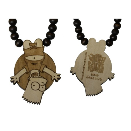BART HANGING NECKLACE - WOOD FELLAS FOR THE SIMPSONS - collana in legno - www.baddaclothes.com