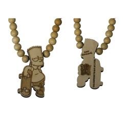 BART SKATEBOARD NECKLACE - WOOD FELLAS FOR THE SIMPSONS - collana in legno - www.baddaclothes.com
