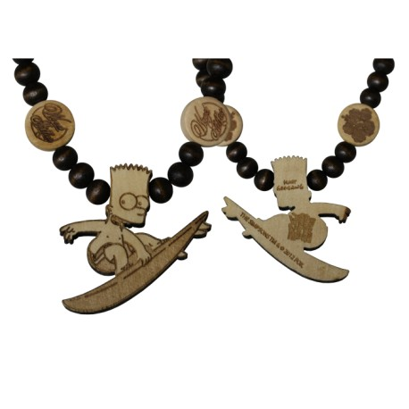 BAD BOYS NECKLACE - WOOD FELLAS FOR THE SIMPSONS - collana in legno