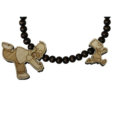 CHASING NECKLACE - WOOD FELLAS FOR THE SIMPSONS - collana in legno - www.baddaclothes.com