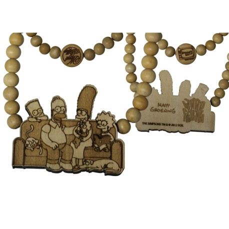 FAMILY COUCH NECKLACE - WOOD FELLAS FOR THE SIMPSONS - collana in legno - www.baddaclothes.com