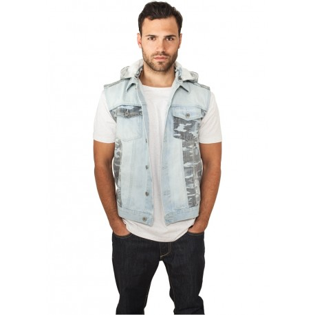 Hooded Camo Denim Vest - Smanicato di Jeans