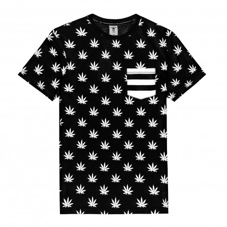 C&S Leaves and Stripes Pocket Tee - www.baddaclothes.com