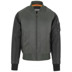 Basic Bomber Leather Imitation Sleeve Jacket - Urban Classics