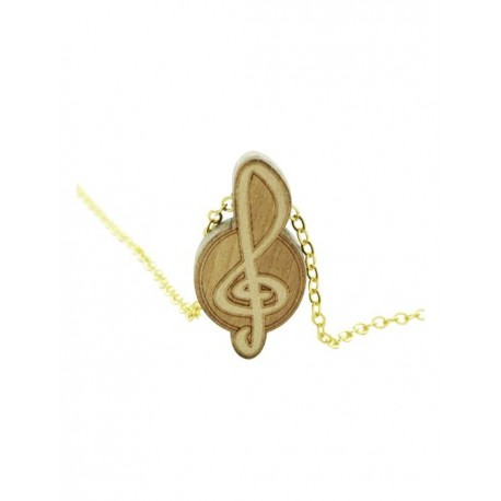 Wood Fellas Clef Necklace - Collana in metallo con pendente in legno