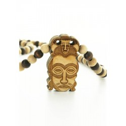 Wood Fellas African Mask Necklace