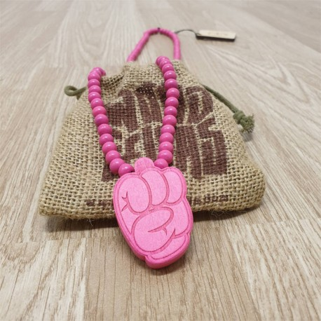 Wood Fellas Comic Fist Pink Necklace