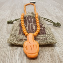 Wood Fellas Comic Middle Finger Orange - Collana in legno
